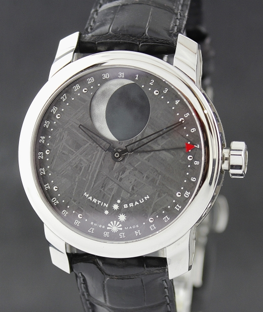 LIKE NEW MARTIN BRAUN SELENE METEORITE DIAL / MOON PHASE - Click Image to Close