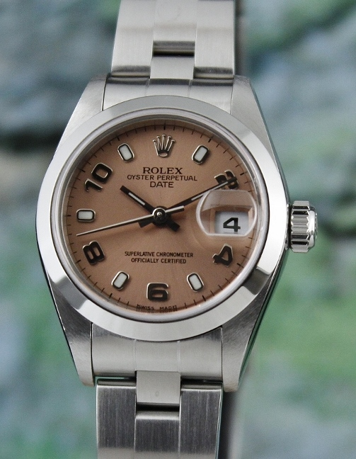 A ROLEX LADY SIZE STAINLESS STEEL OYSTER PERPETUAL DATEJUST / 79160