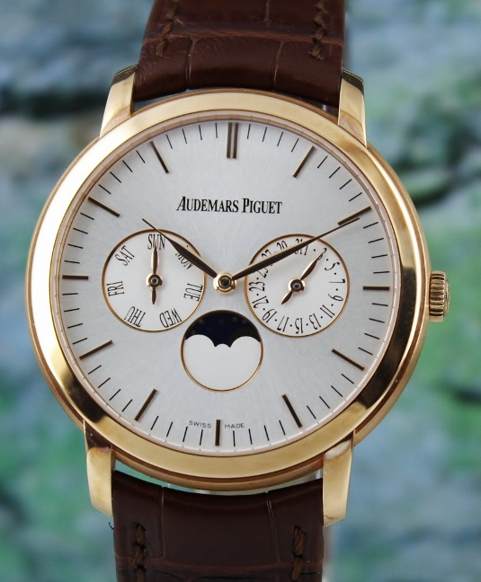 JULES AUDEMARS 18K ROSE GOLD MOON-PHASE CALENDAR / 26385OR.OO.A088CR.01