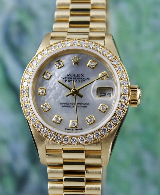 100% ORIGINAL ROLEX LADY SIZE 18K YELLOW GOLD OYSTER PERPETUAL DATEJUST - 79138