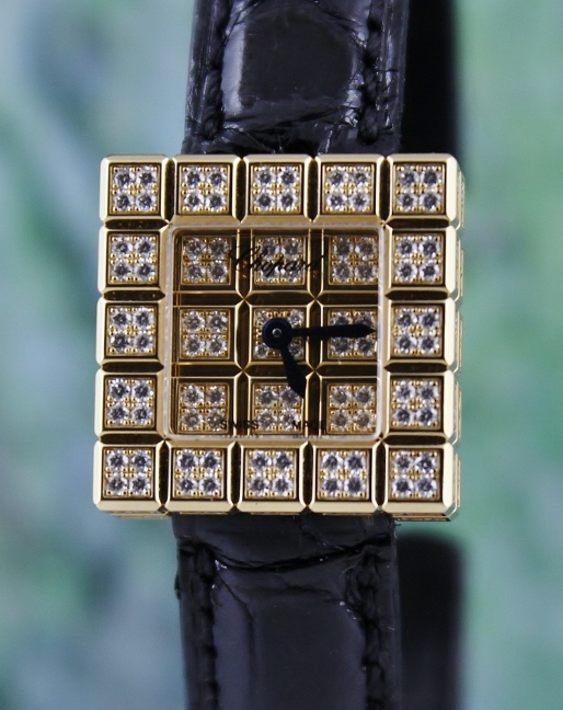 A CHOPARD 18K YELLOW GOLD ORIGINAL FULL DIAMOND WATCH