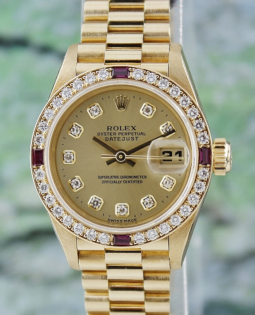 100% ORIGINAL ROLEX LADY SIZE 18K YELLOW GOLD OYSTER PERPETUAL DATEJUST - 69068