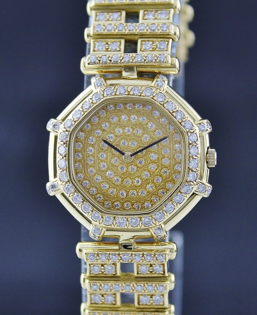 100% ORIGINAL 18K YELLOW GOLD GERALD GENTA FULL DIAMOND WATCH