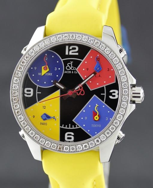 c36a8809aa4e29 Jacob   Co Swiss Made Quartz Unisex Five Time Zone Diamond Watch ...