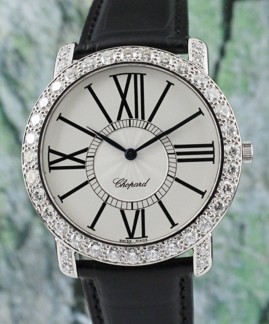 A Chopard Happy 18K White Gold Diamond Watch