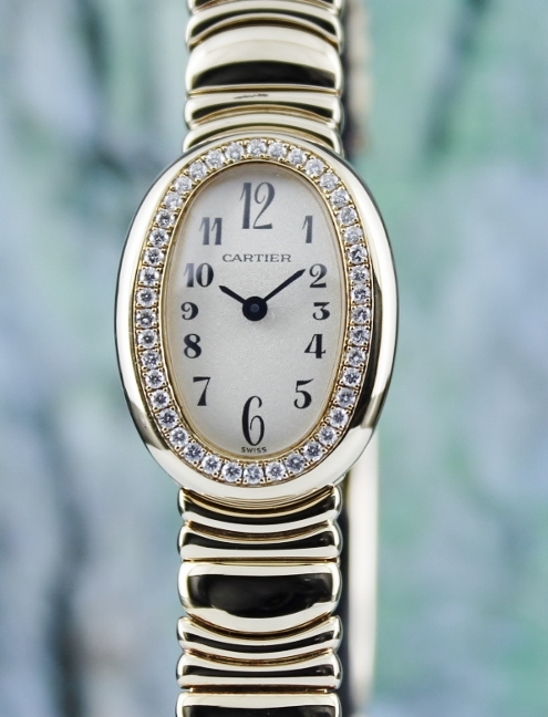100% ORIGINAL CARTIER 18K YELLOW GOLD MINI BAIGNOIRE WATCH / 1960