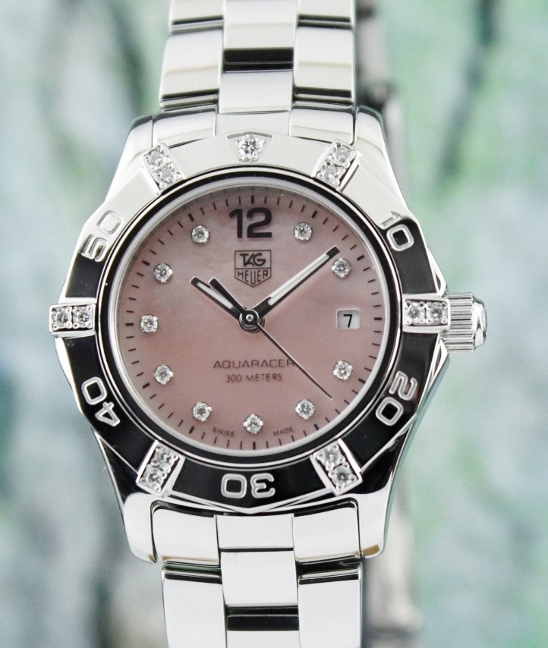 LIKE NEW TAG HEUER STAINLESS STEEL LADY SIZE AQUARACER / MOP / WAF141G