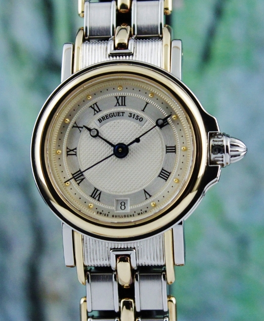 Breguet Lady Size Marine 18K Yellow Gold & Steel Automatic Watch / 8400SA/12/X40 - Click Image to Close