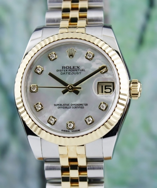 A ROLEX MID SIZE 18K YELLOW & STEEL OYSTER PERPETUAL DATEJUST / 178273