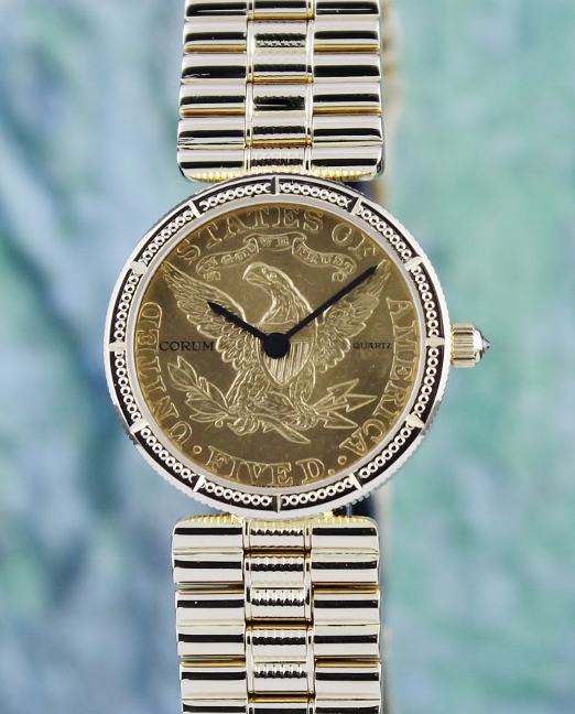 CORUM 18K YELLOW GOLD AMERICAN $5 COIN WATCH / 1882