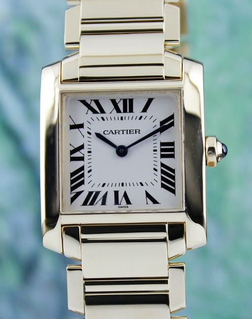 CARTIER 18K YELLOW GOLD TANK FRANCAISE LADY WATCH / 1821