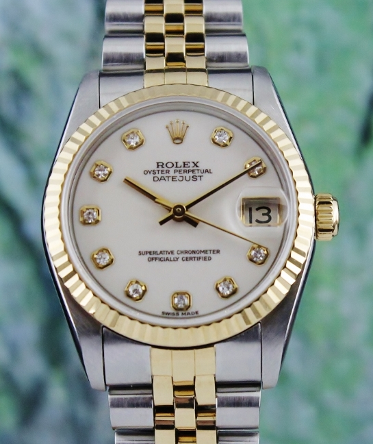 A ROLEX MID SIZE OYSTER PERPETUAL DATEJUST / 68273 / RARE DIAL