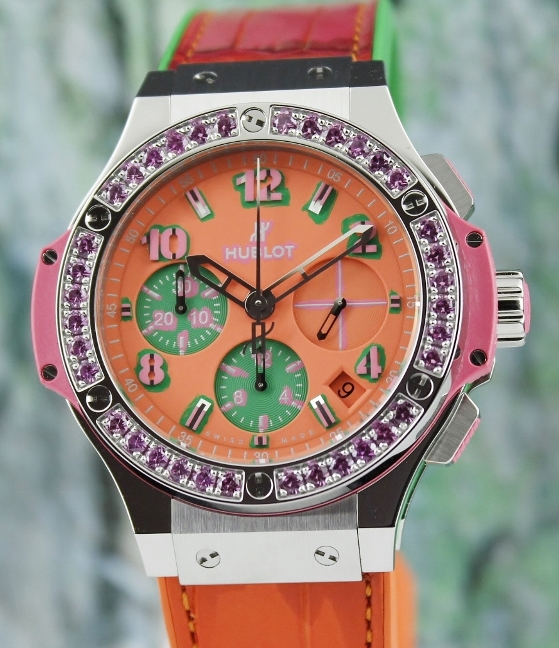 Like New Unpolished Hublot Big Bang Pop Art Chronograph Watch / 341.SP.4779.LR.1233.POP15