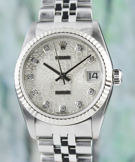 A ROLEX MID SIZE STEEL OYSTER PERPETUAL DATEJUST / 68274
