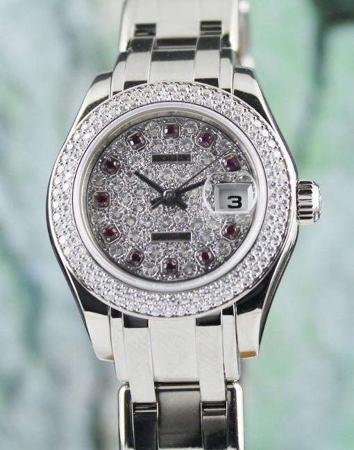 A ROLEX 18K WHITE GOLD LADY - DATEJUST PEARLMASTER - 80339