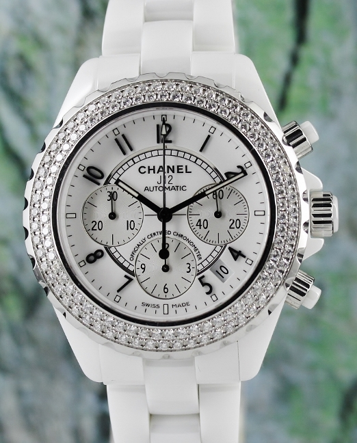 LIKE NEW CHANEL J12 41MM CERAMIC AUTOMATIC CHRONOGRAPH DIAMOND WATCH / H1008