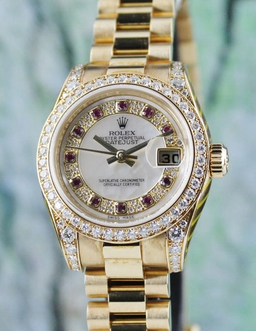 100% ORIGINAL ROLEX 18K LADY SIZE OYSTER PERPETUAL DATEJUST / 179158 / CERT