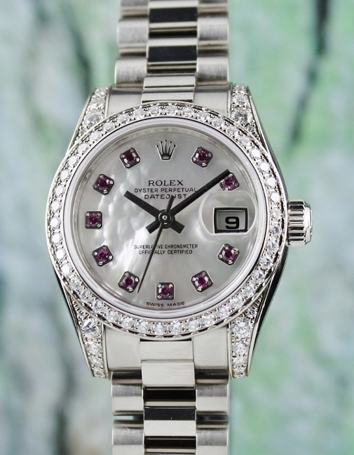100% ORIGINAL ROLEX LADY SIZE 18K WHITE GOLD OYSTER PERPETUAL DATEJUST / 179159