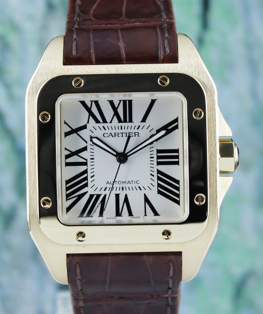 CARTIER 18K YELLOW GOLD SANTOS 100 XL AUTOMATIC WATCH / 2657