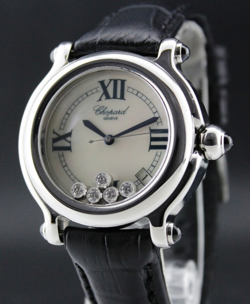 CHOPARD 38MM STEEL HAPPY SPORT WATCH / MOP