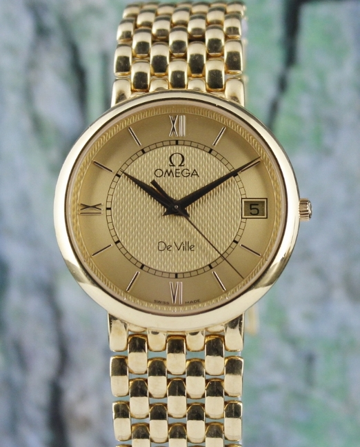 OMEGA MEN SIZE 18K YELLOW GOLD DEVILLE QUARTZ WATCH /71201400