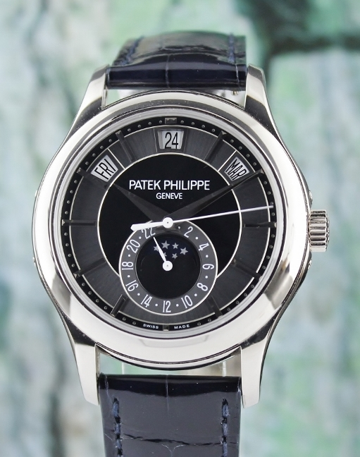 A Patek Philippe 18K White Gold Annual Calendar Masterpiece / 5205G-001 - Click Image to Close