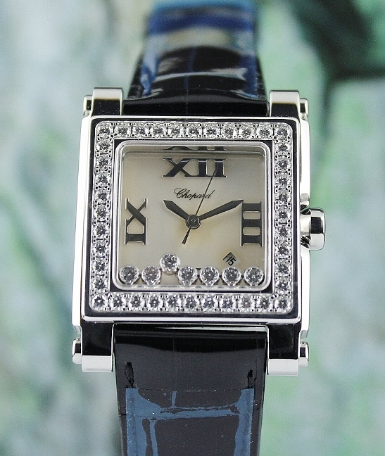 UNWORN CHOPARD STAINLESS STEEL HAPPY SPORT DIAMOND WATCH MOP / 278504
