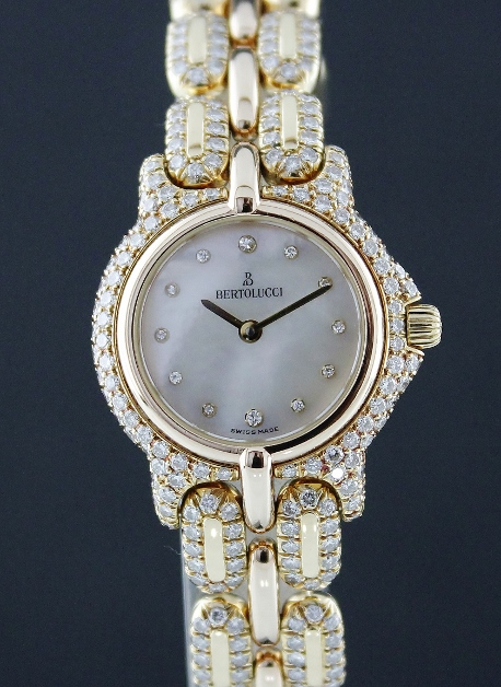 100% ORIGINAL BERTOLUCCI VIR SERIES 18K SOLID GOLD LADY DIAMOND WATCH