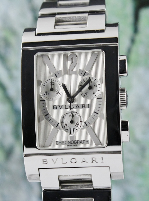 Bvlgari Stainless Steel Rettangolo Chronograph Watch / RTC 49 S