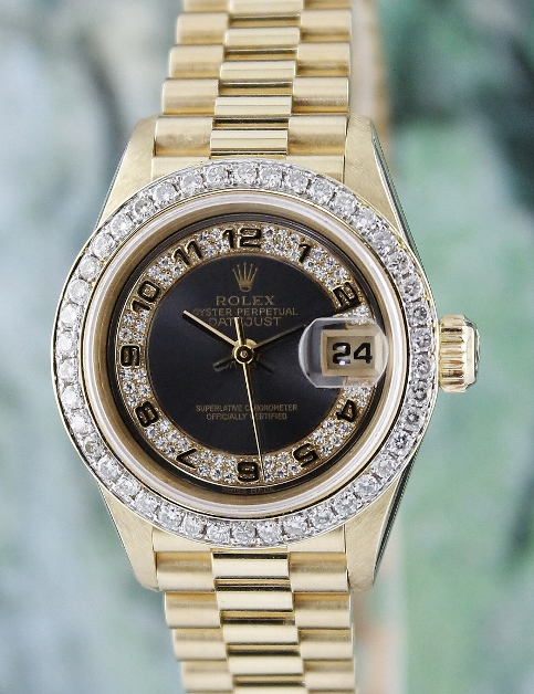 LIKE NEW ROLEX LADY 18K GOLD OYSTER PERPETUAL DATEJUST - 69178