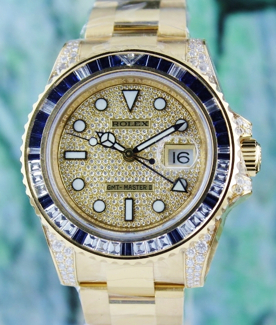 100% ORIGINAL UNWORN ROLEX 18K YELLOW GOLD GMT MASTER II / 116758 SA