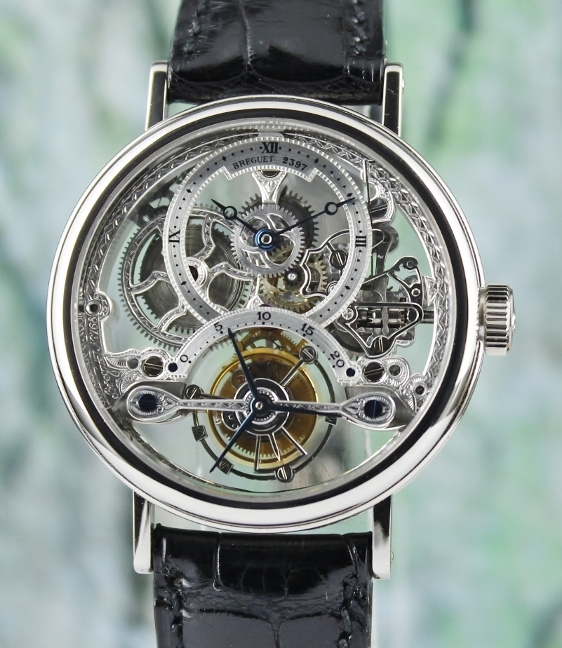 BREGUET TOURBILLION SKELETON 18K WHITE GOLD MANUAL WINDING WATCH / REF 3355