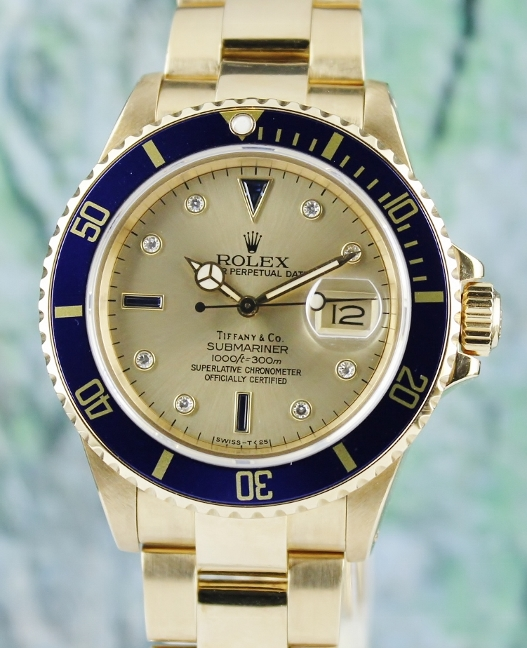 "RARE ROLEX 18K YELLOW GOLD OYSTER PERPETUAL DATE / ""TIFFANY & CO"" /16808"