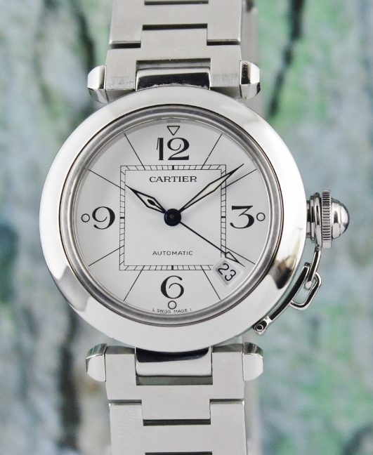A CARTIER STAINLESS STEEL PASHA AUTOMATIC WATCH / 2324