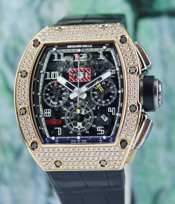 Richard Mille 18K Rose Gold Full Paved Diamond / RM011