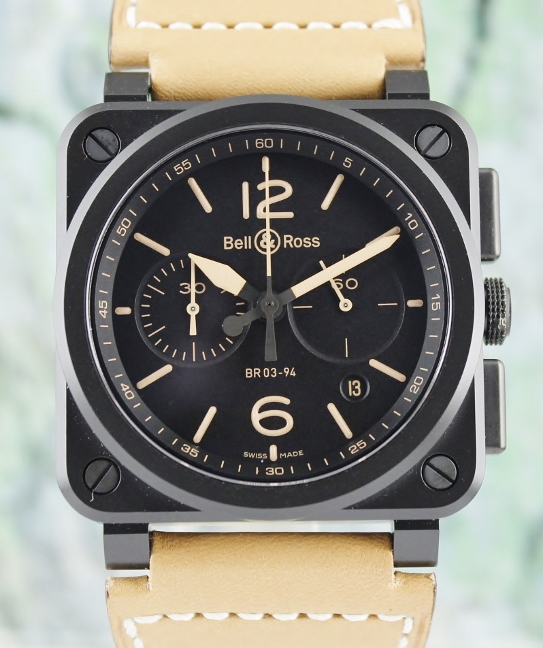 Unworn Bell & Ross Ceramic Heritage Chronograph Automatic Watch / BR 03-94