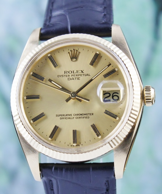 ROLEX 18K MEN SIZE YELLOW GOLD OYSTER PERPETUAL DATE / 1503