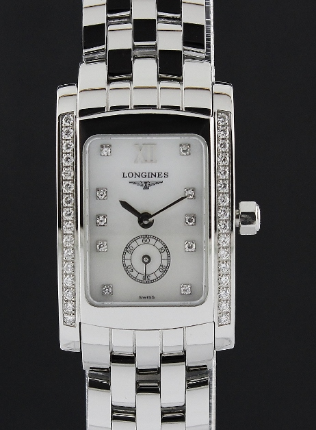 A LONGINES MINI DOLCEVITA PEARL & DIAMOND WATCH