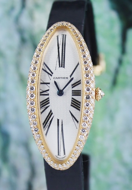 Cartier Baignoire Allongee 18K Rose Gold Factory Diamond Case / 2515