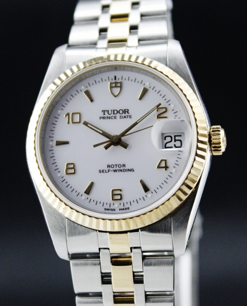 Tudor Prince Date Steel & 18K Gold Mens Watch / 74033