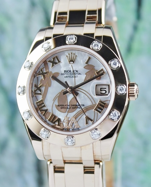 LIKE NEW ROLEX 18K ROSE GOLD DATEJUST PEARLMASTER - 81315