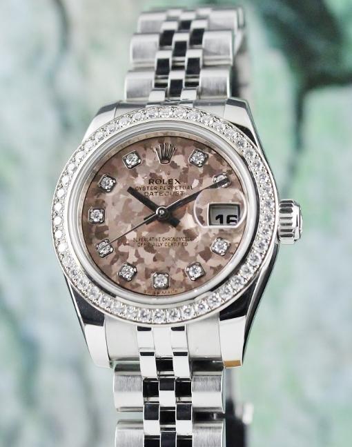 208c4f60efc A ROLEX LADY SIZE OYSTER PERPETUAL DATEJUST / ORIGINAL DIAMOND BEZEL /  179384