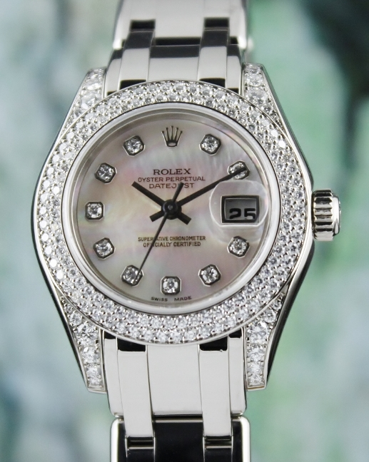 LIKE NEW 100% ORIGINAL ROLEX 18K WHITE GOLD LADY DATEJUST PEARLMASTER / 80359 / CERT - Click Image to Close