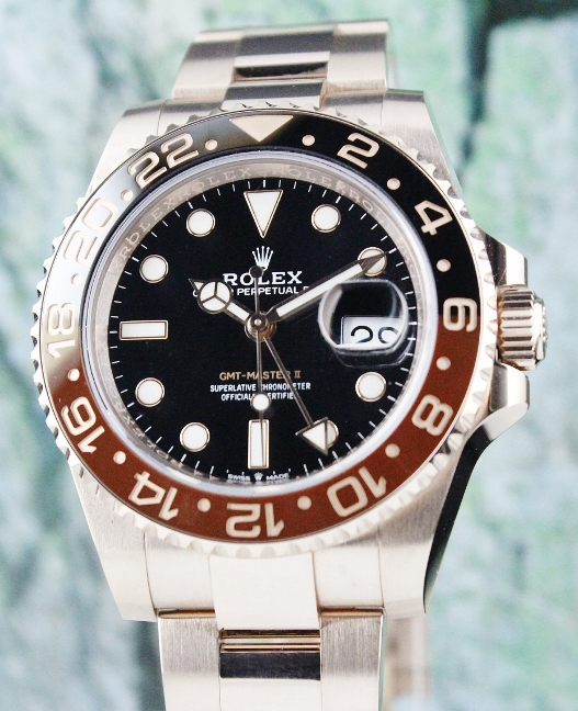 LIKE NEW ROLEX 18K ROSE GOLD GMT MASTER II PERPETUAL DATE / 126715CHNR