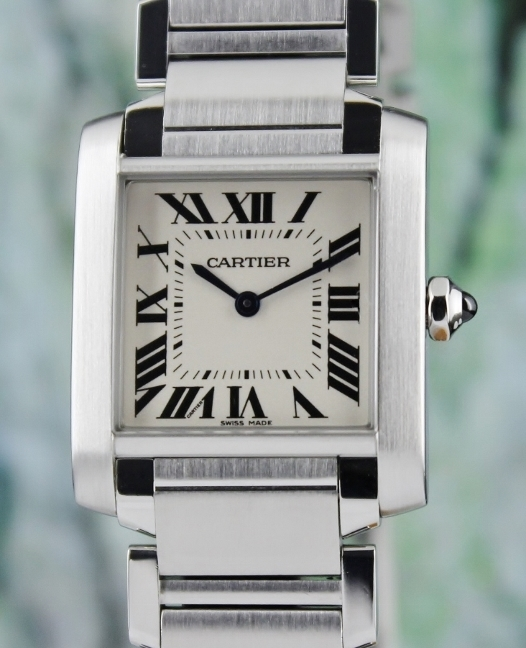A CARTIER MID SIZE STAINLESS STEEL TANK FRANCAISE / 3751