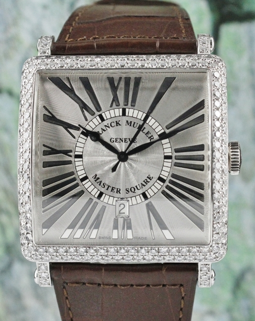 LIKE NEW FM JUMBO SIZE MASTER SQUARE 18K WHITE GOLD WATCH / 6000 K SC DT D