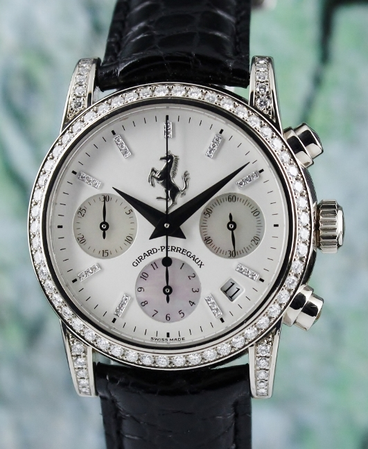 GIRARD PERREGAUX 18K WHITE GOLD CHRONOGRAPH DIAMOND WATCH / REF 8022
