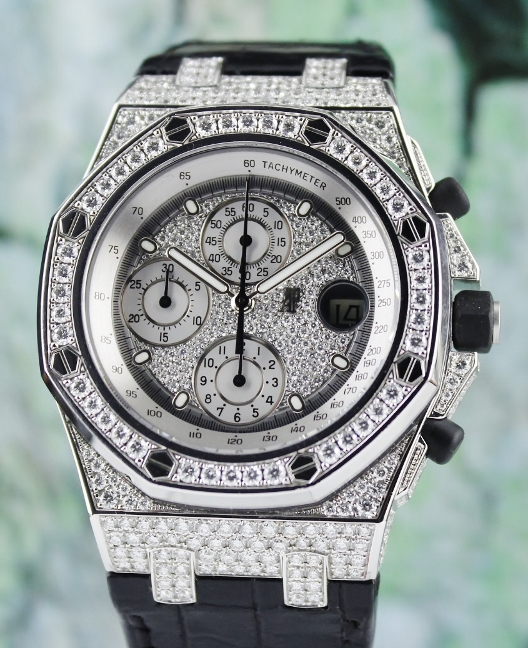 LIKE NEW 100% Original AP Royal Oak Offshore 18K White Gold Full Case Diamond / 26067BC.ZZ.D002CR.01