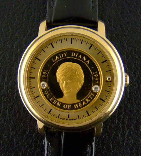 "Gold Crest Watch With ""999"" Pure Gold Dial - Lady Diana"